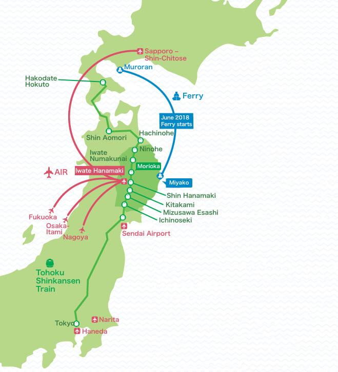 mapa: Como adquirir a costa de Sanriku de dentro do Japão
